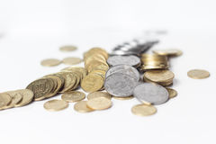 pile of gold and silver coins isolated Royalty Free Stock Photos
