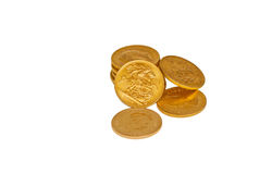Pile of gold sovereigns isolated Royalty Free Stock Photos