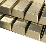Pile of golden bars, pyramid stack Royalty Free Stock Photos