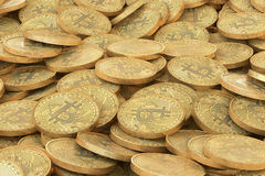 Pile of golden bitcoins coins. A lot of virtual money background. vector illustration