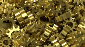 Pile of golden cogwheels abstract Royalty Free Stock Images