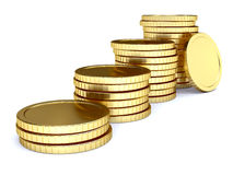 Pile of golden coin as stairs. 3d-illustration on white background Stock Photography