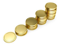 Pile of golden coin as stairs. 3d-illustration on white background Stock Images