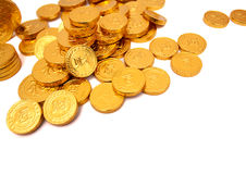 Pile of golden coin isolated on white background Royalty Free Stock Photo