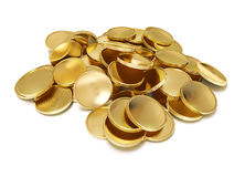 Pile of golden coins. Pile of golden coin 3d-illustration on white background Royalty Free Stock Photo