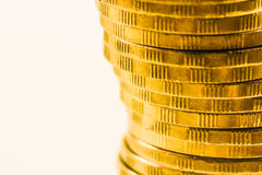 The pile of golden coins close up Stock Photo