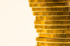 Pile of golden coins close up Stock Photo
