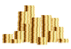 Pile of golden coins Stock Images
