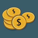 Pile of golden coins Dollar Stock Image