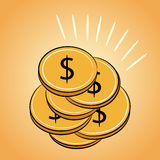 Pile of golden coins Dollar Royalty Free Stock Image