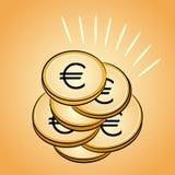 Pile of golden coins euro Stock Photos