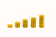 Pile of golden coins and graph. Stock Photos