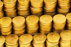 Pile of golden  coins isolated Royalty Free Stock Photography