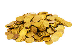 Pile of golden  coins isolated Royalty Free Stock Photos