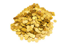 Pile of golden  coins isolated Stock Photo