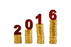 Pile of golden coins with numbers 2016 Stock Photography