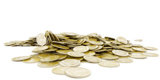 Pile of golden coins. Ukrainian money. Grivna. Stock Photo