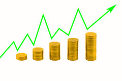 Pile of golden coins and upside growing arrow graph Royalty Free Stock Photo