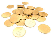 Pile of golden coins on a white background Royalty Free Stock Photo