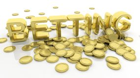 Pile of golden coins and word Betting Stock Photos