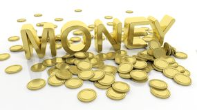 Pile of golden coins and word Money Stock Photos