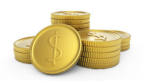 Pile of golden dollar coins. Pile or stack of golden dollar coins; isolated on white background Royalty Free Stock Images