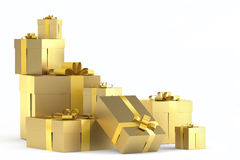 Pile of golden gifts. With ribbons isolated on white with copy space to the right and clipping path Stock Photos