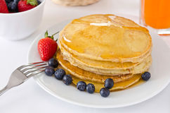 Pile of golden pancakes Royalty Free Stock Photo