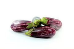 Pile Graffiti Baby Eggplants on white. Stock Photos