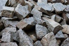 Pile of granite pieces of the Carisolo - Pinzolo. Piece of granite in the blue sky of the Val Genova Madonna di Campiglio - Trentino Alto Adige Royalty Free Stock Photos
