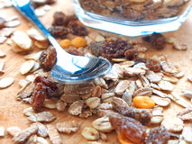 Pile of granola cereal with raisins and nuts Stock Image