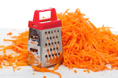 Pile of grated carrots and grater Royalty Free Stock Photos
