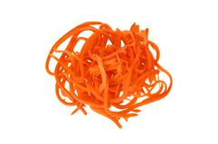 A pile of grated carrots on a white background. Isolate. Food background. A pile of grated carrots on a white background. Isolate Stock Image
