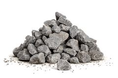 Pile of gravel 20-40mm. Pile of gravel sized 20-40mm for construction isolated on a white background royalty free stock images