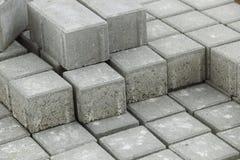 Pile of gray bricks. Close up of pile of gray building bricks royalty free stock photo