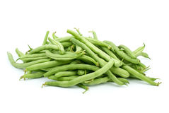 Pile of green bean pods. Isolated on the white background Royalty Free Stock Photos