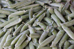 Pile of green beans. On the street market Stock Images