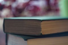 Pile of green books. The concept of reading. Close-up of toms on gradient background with reverberation. Selective focus royalty free stock photo