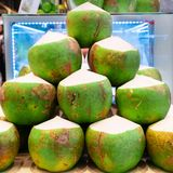 The pile of green coconuts royalty free stock images