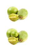 Pile of green fruits isolated Stock Photo