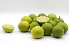 Pile Green Lime, Slice Green Lime, Asian lemon Royalty Free Stock Images