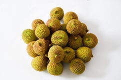A pile of green litchi  isolated on white background Royalty Free Stock Photography