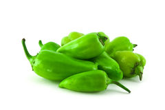 Pile of green peppers royalty free stock photos