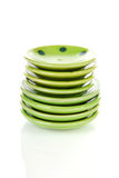 Pile of green plates Royalty Free Stock Photo