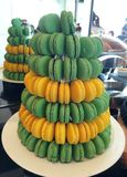 Pile of Green and Yellow Macaroons Royalty Free Stock Images