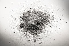 Pile of grey ash, dirt, sand, dust cloud, death remains Stock Image