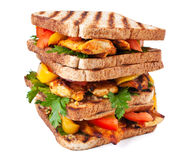 Pile of grilled chicken sandwiches Royalty Free Stock Photos