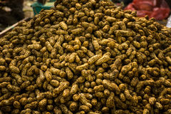 Pile of ground nuts on sale in traditional market photo taken in Bogor Indonesia Stock Image
