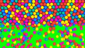 Multicolored spheres fill screen. Multicolored spheres abstract transition.