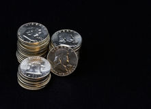 Pile of  Half Dollar Coins Royalty Free Stock Photo